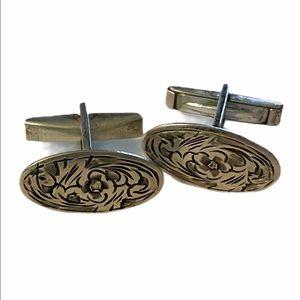 SILVER Antique Handmade Artisan Design Cufflinks